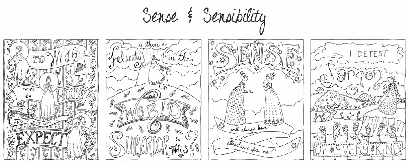 Jane austen coloring book sneak preview by for Jane austen coloring pages