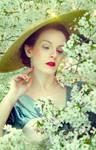 Vintage lady in bloom