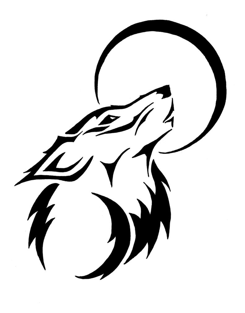 Tribal Howling Wolf by trainspotter90 on DeviantArt