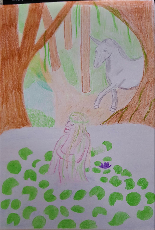 Forest Nymph And Unicorn by kestovaari