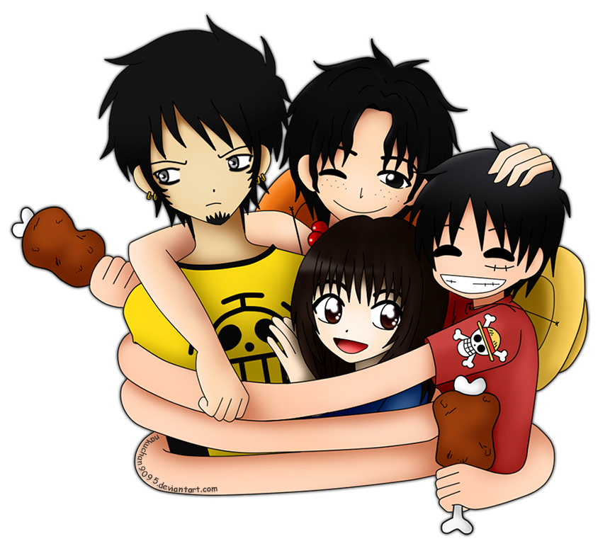 Law, Ace, Luffy and NakuChan by nakuchan9095