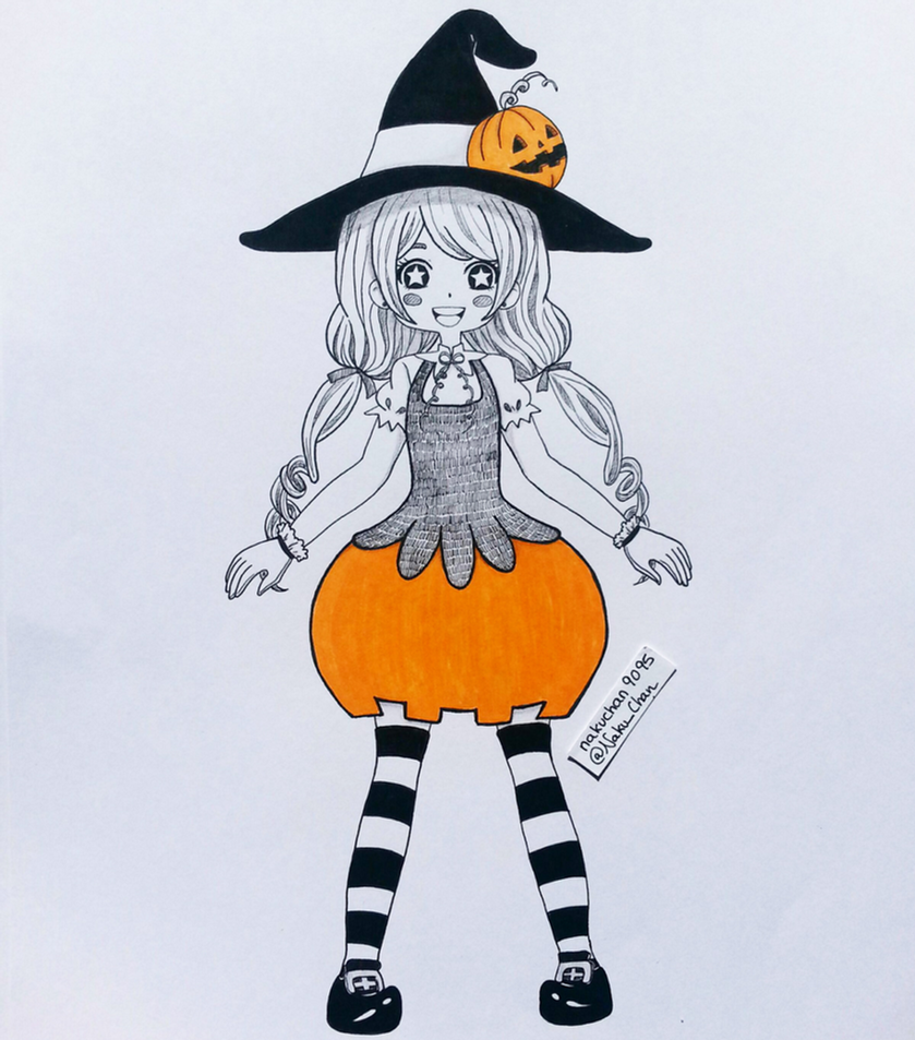 Inktober Day 04 - Pumpkin Witch by nakuchan9095