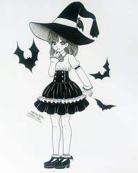 Inktober Day 06 - Bat Witch