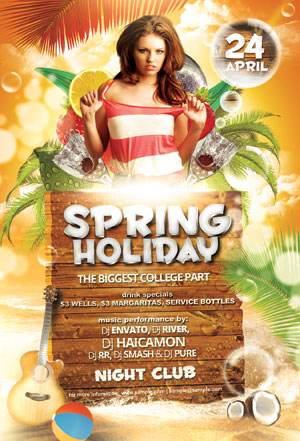 Spring Party Flyer. Free-Party-Flyer-Poster-Psd-Template-Spring