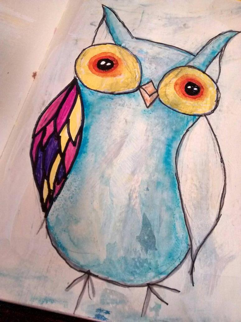 Sharpie n Watercolor Owl by diva42