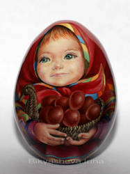 Veronichka with basket full of Easter eggs by spb-masters
