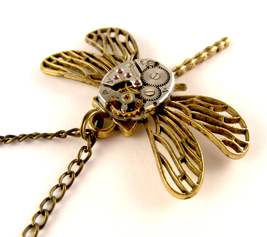 Steampunk dragonfly necklace watch movement by SteamSect ...