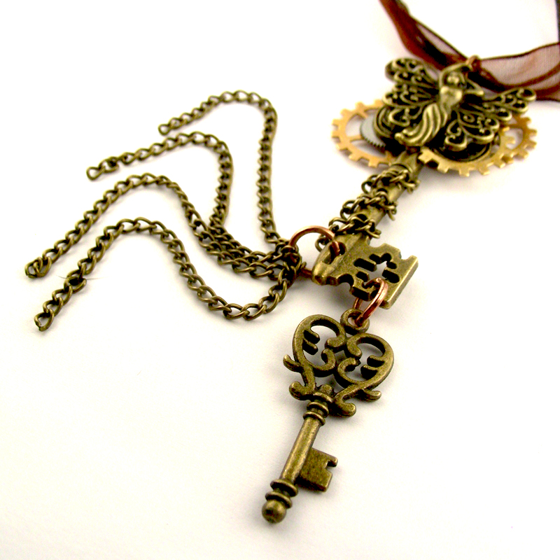 Goth Skeleton Key Steampunk Fairy Pendant by SteamSect