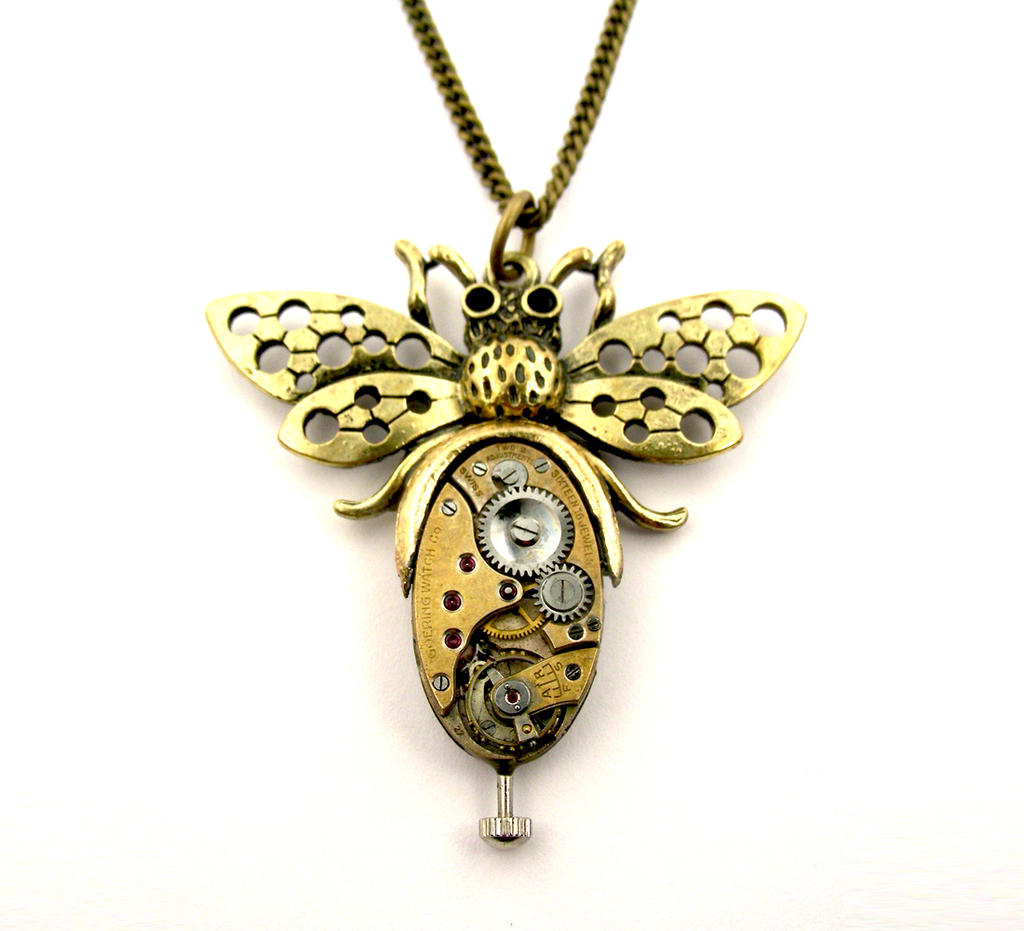 Rustic Steampunk Wasp Pendant by SteamSect