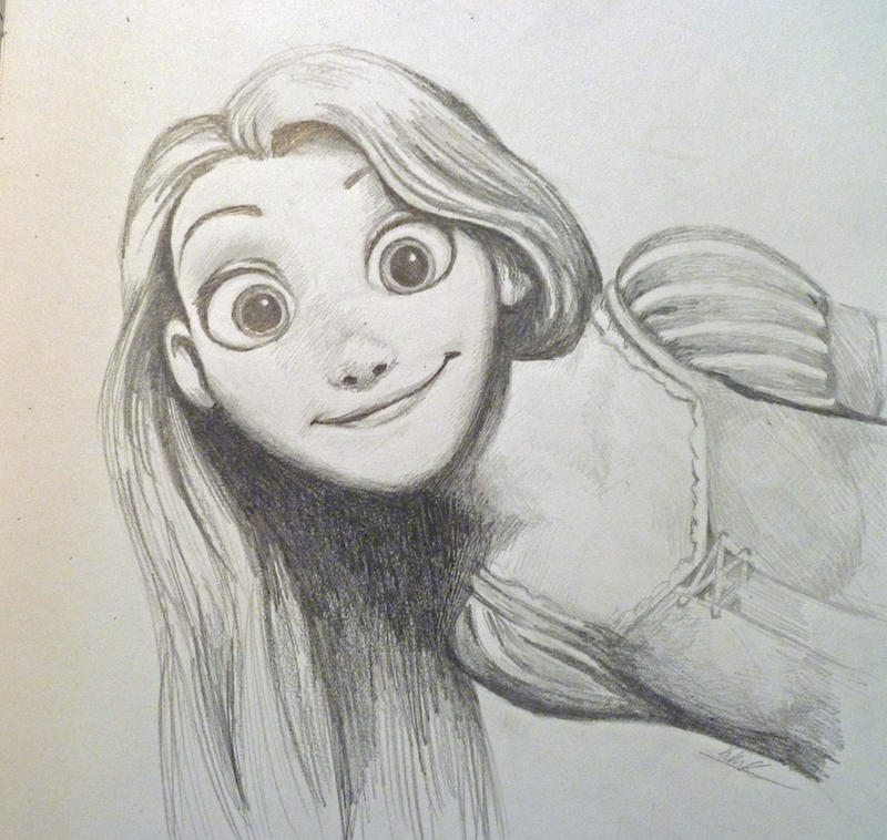 Tangled: Rapunzel Sketch by MilesofCrochet on DeviantArt