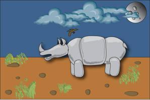 Rhino Post Card by LoserLunatic