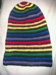 super awesome rainbow crochet slouchy hat!