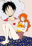 Luffy x Nami by womanTENSAIinathens