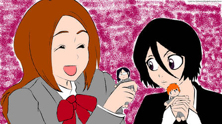 Rukia and Orihime with their dolls by womanTENSAIinathens