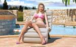 Pink bikini at pool by Lynxander