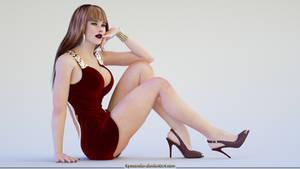 Elena in red by Lynxander