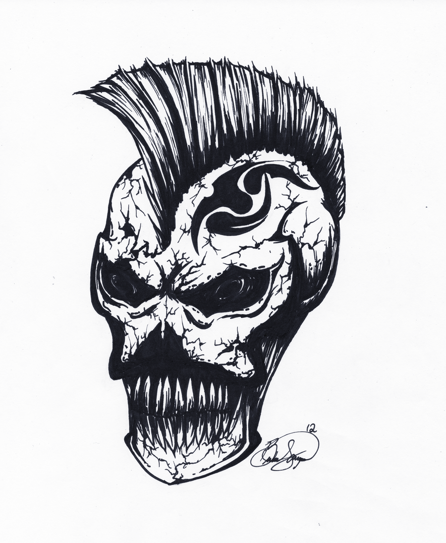 Skull: Mohawk by XxFallenNightxX on DeviantArt