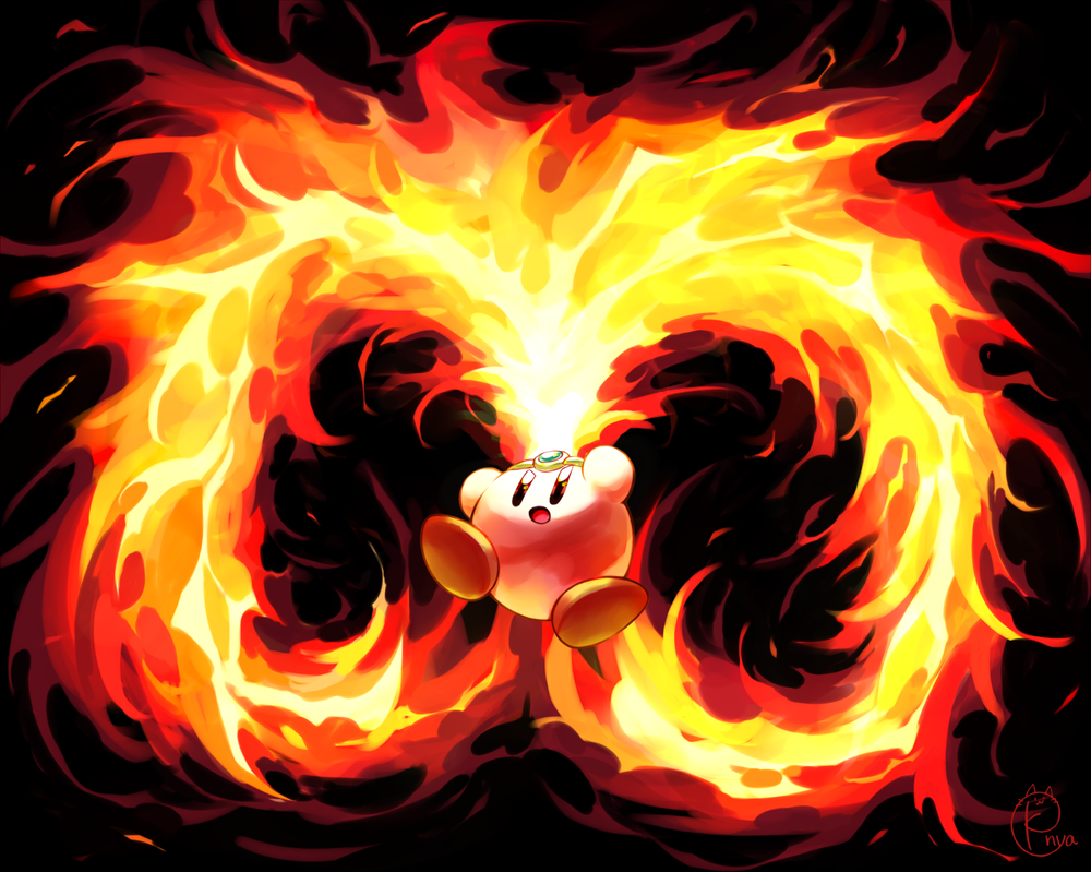 Nya Kirby Wallpaper: FIRE KIRBY! By Konya-nya On DeviantArt