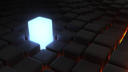Blue Light Cube Grid