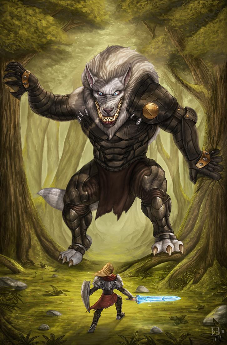Cyber-Werewolf vs Red riding hood by RoyalFiend