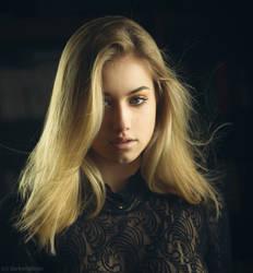blonde in the dark by darkelfphoto