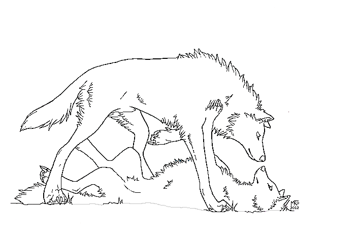 Simple Wolf Lineart : Two wolves lineart by whisper on deviantart
