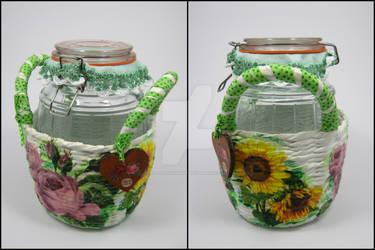 Glass bottle in the basket