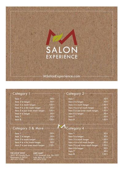 Salon Menu Concept 3