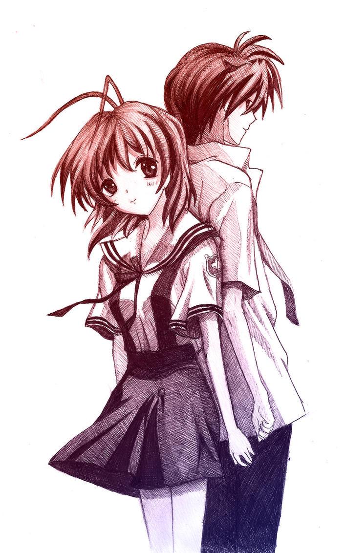 Nagisa and Tomoya - Clannad by vivsters on DeviantArt