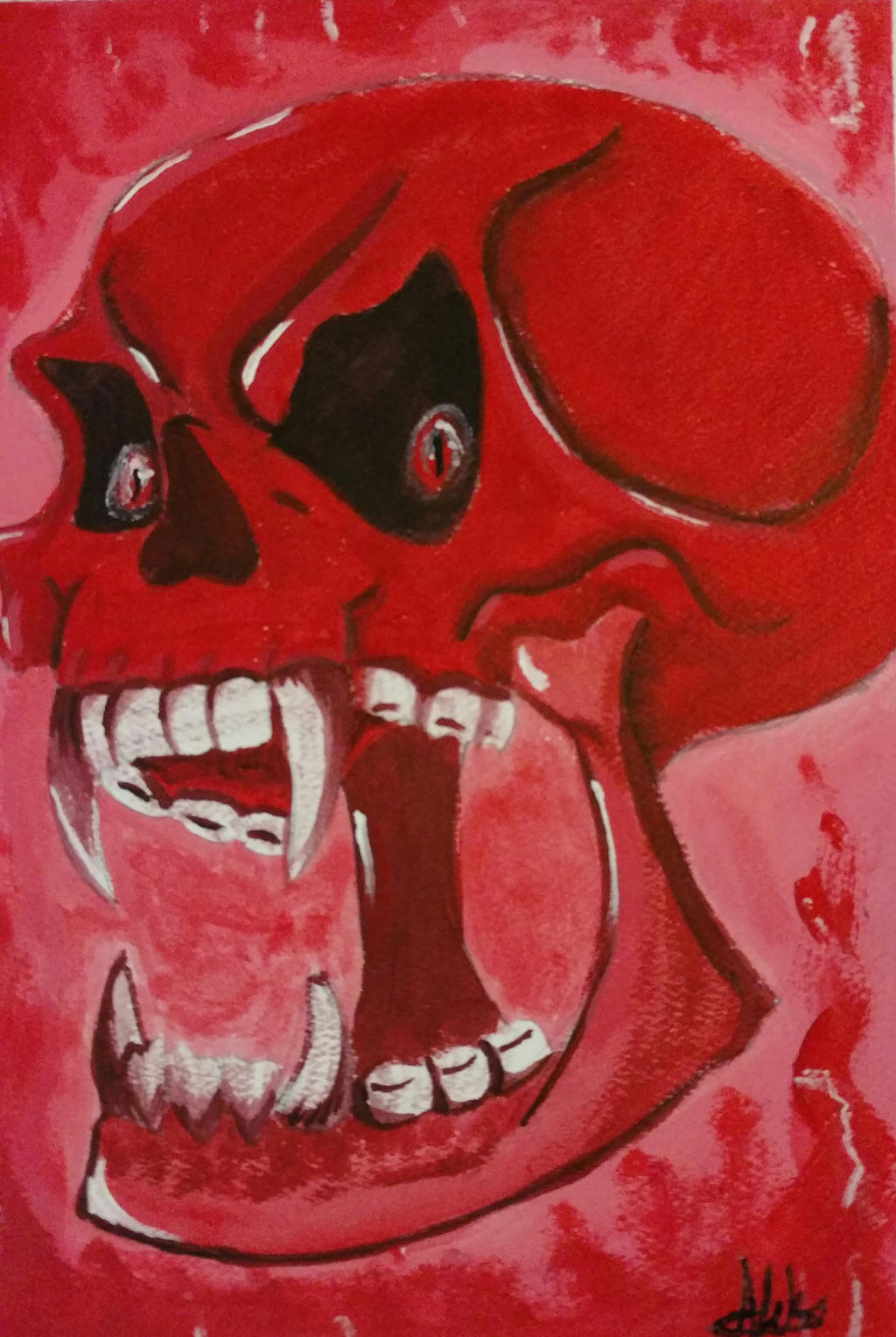Angry Skull by wolf-karpova
