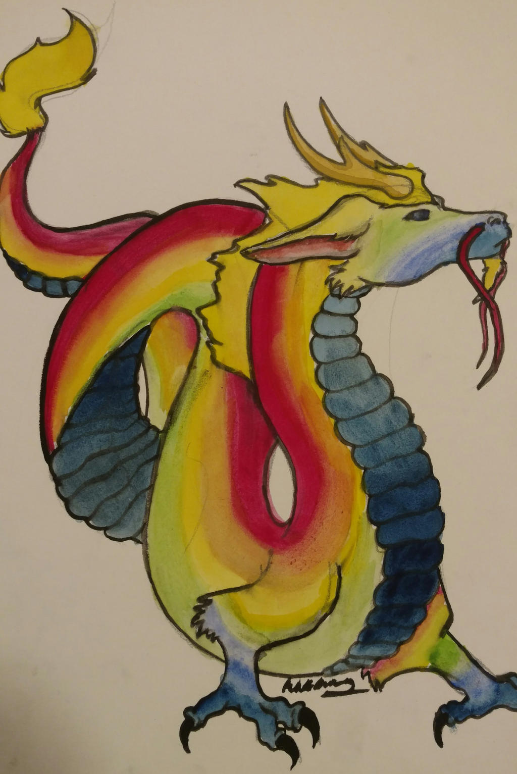 Rainbow Chinese Dragon by wolf-karpova