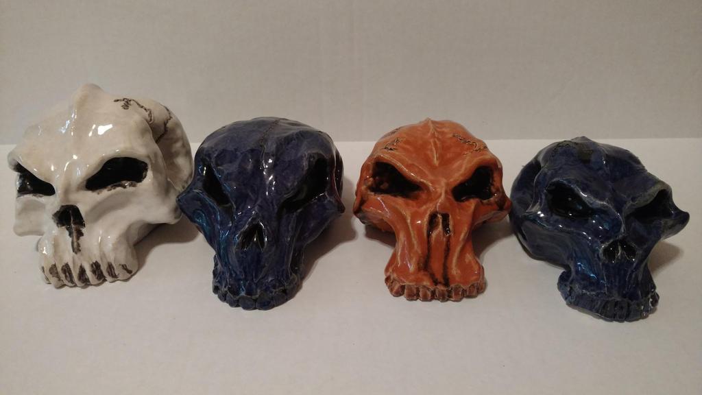 Ceramic Skulls by wolf-karpova