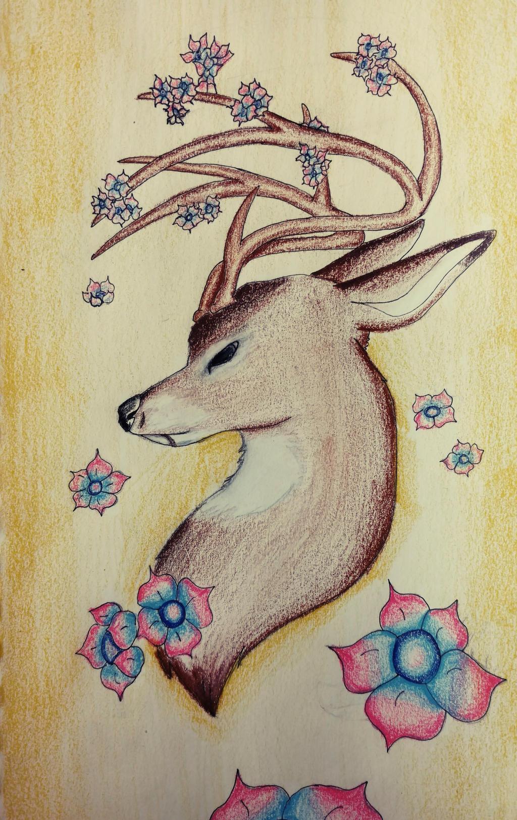 Flowered Deer by wolf-karpova