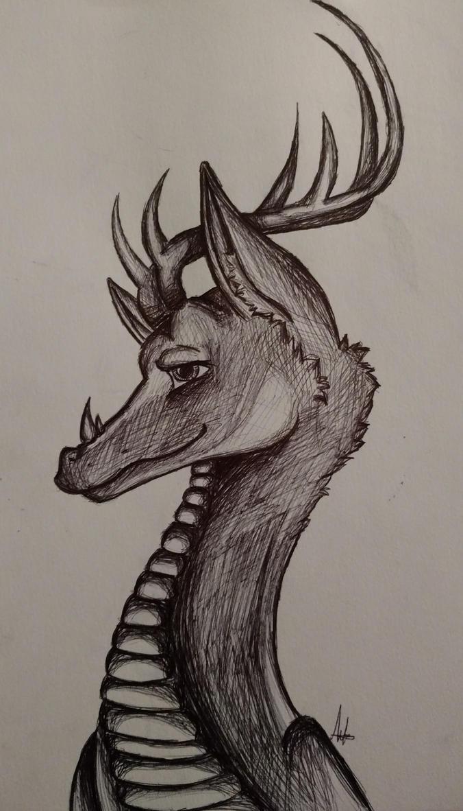 Dragon deer by wolf-karpova