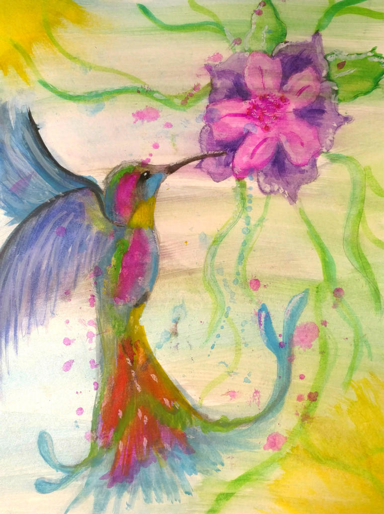 The Rainbow Humming Bird by wolf-karpova