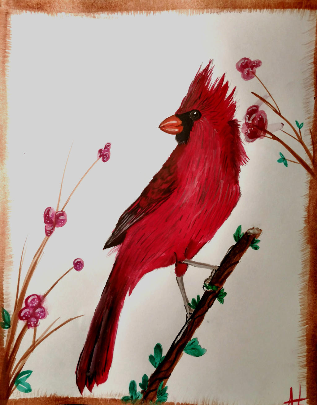 Spring Cardinal watercolor painting by wolf-karpova