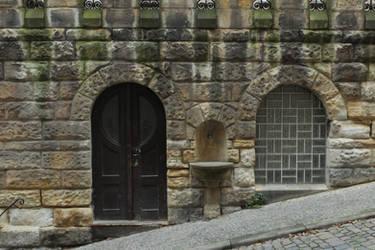 Door, window and fountain