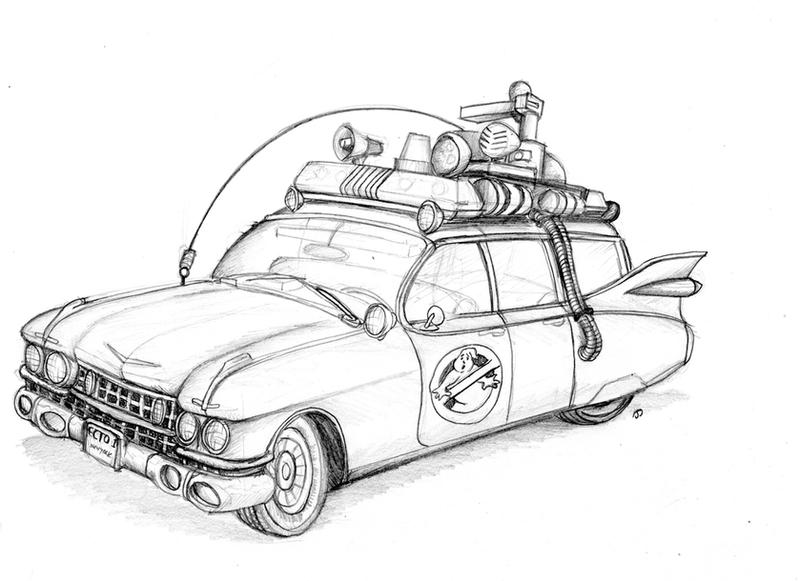 Ghostbuster car coloring pages ~ M/ecto 1 Coloring Pages Coloring Pages