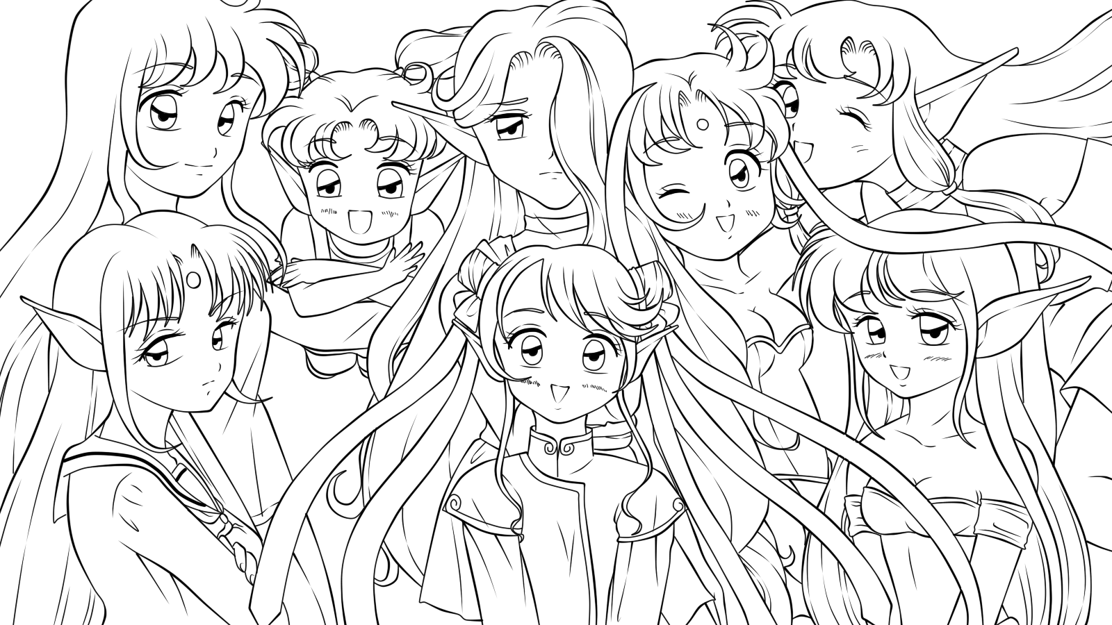 .::All my girls::. - lineart - by Iridescent-Princess on ...