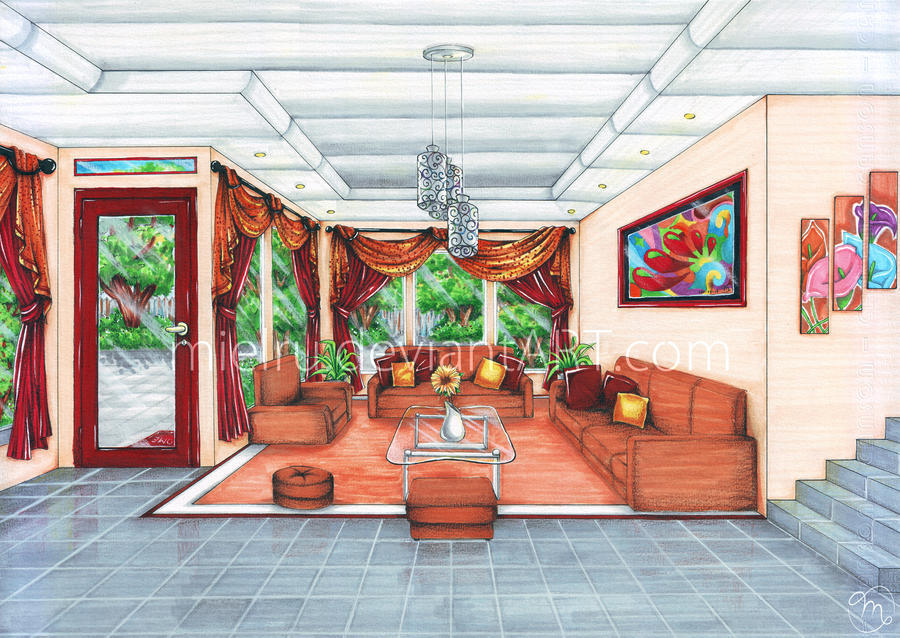 Interior living room by mielru on deviantart - One point perspective drawing living room ...