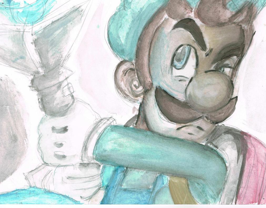 [WATERCOLOUR] Luigi by GreatMasterofChibis