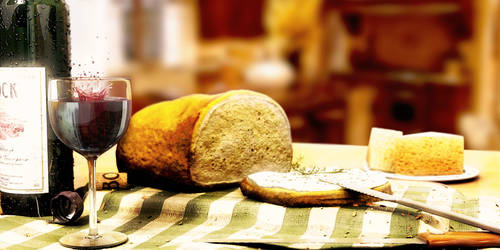 Bread and wine - still-life by gajdoslevente