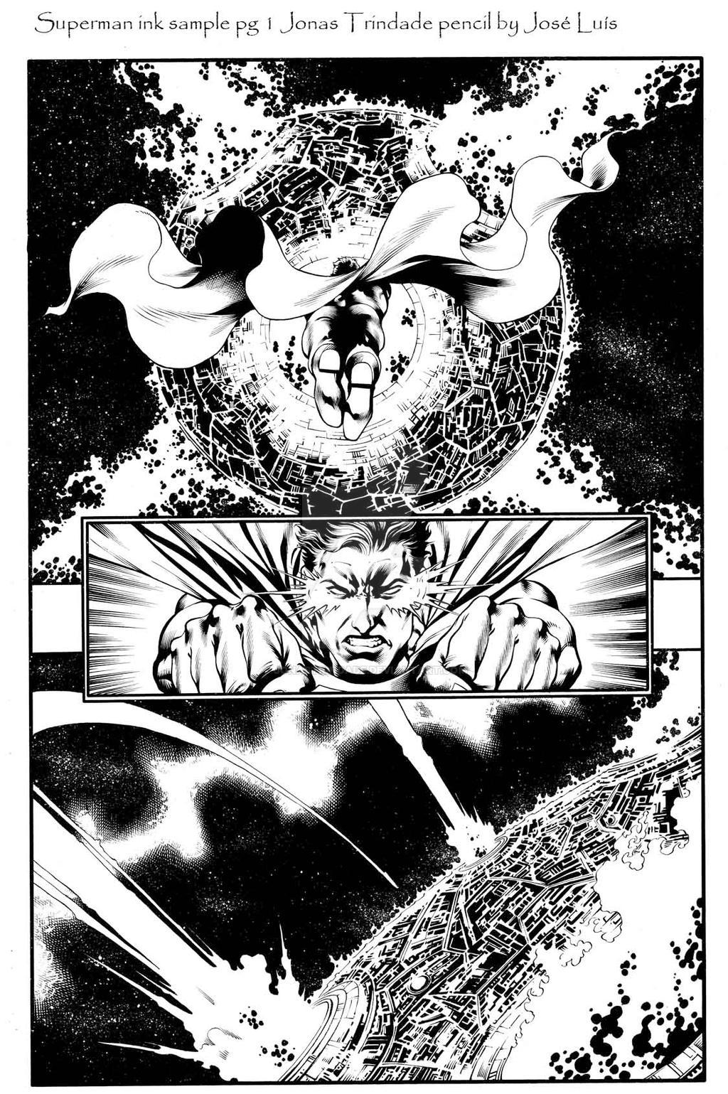 Superman ink sample pg 1 by JonasTrindade