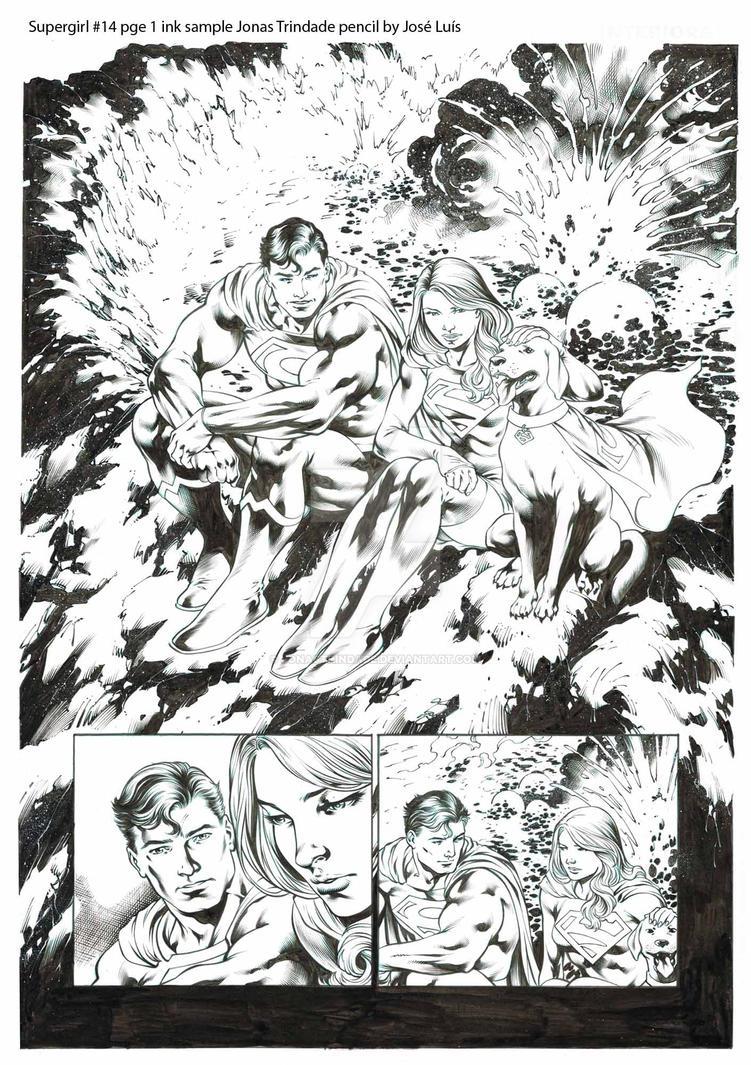 Supergirl #14 pg 1 ink sample Jonas Trindade. by JonasTrindade
