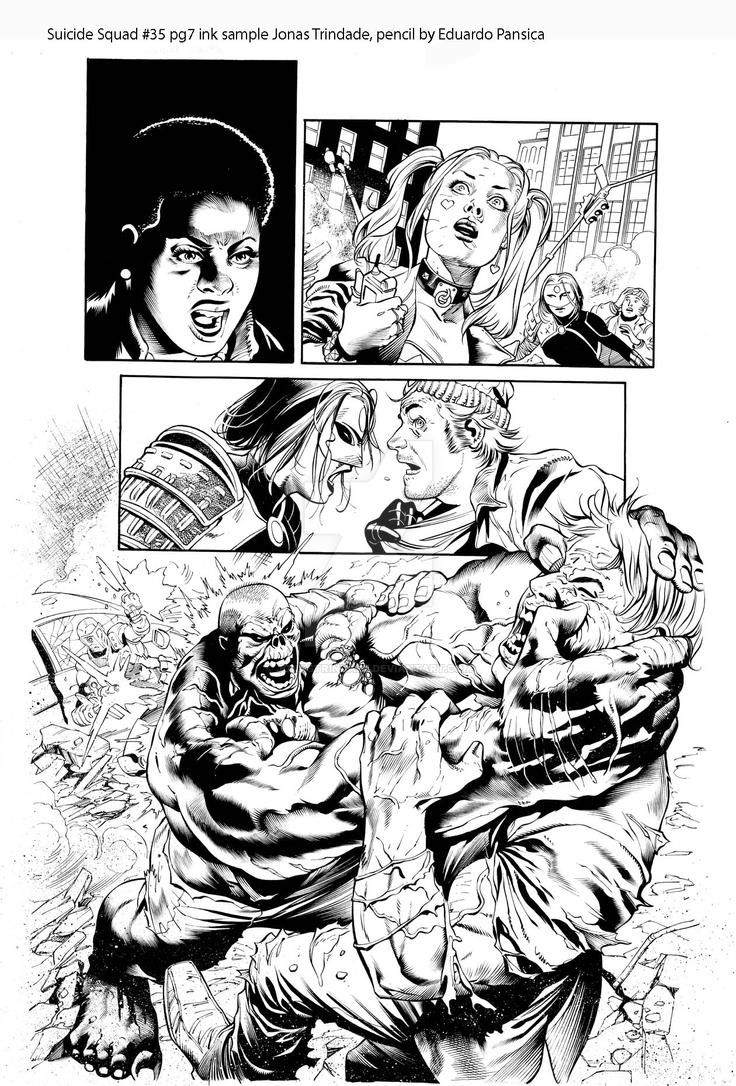 Suicide Squad 35 pg 7 ink sample by JonasTrindade