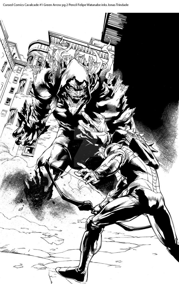 Cursed Comics Cavalcade #1 Green Arrow pg 2 inks by JonasTrindade