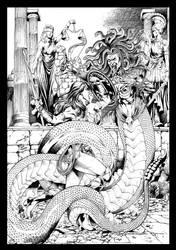 Wonder Woman vs Madusa inks