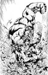 Hulk vs Wolverine inks