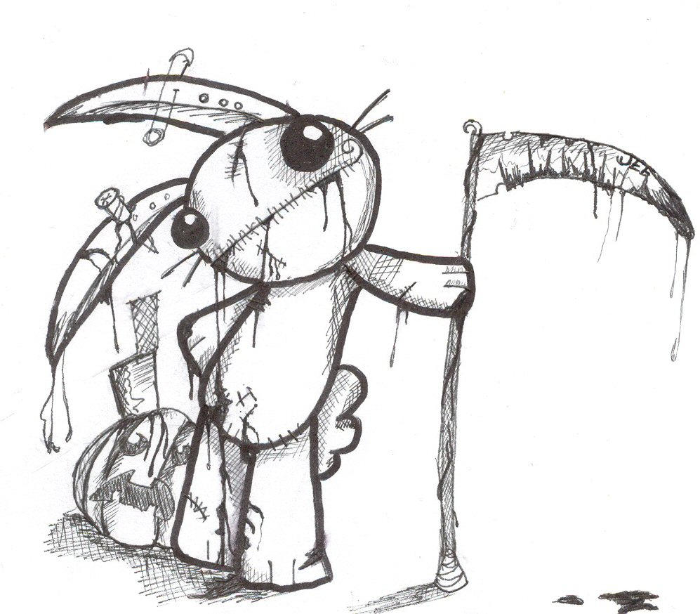 Easy Zombie Drawings also Piccoli Brividi Il Lupo Mannaro furthermore 437764026250612064 additionally Robot Coloring Pages further Scary Bunny Drawing. on scary evil bunny drawings