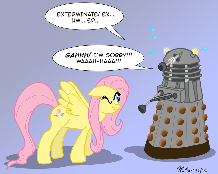 MLPFIM: Pony vs. Dalek 1 -- Fluttershy by the-gneech